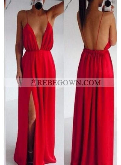2020 Gorgeous Red Prom Dresses Column/Sheath Spaghetti Straps Chiffon
