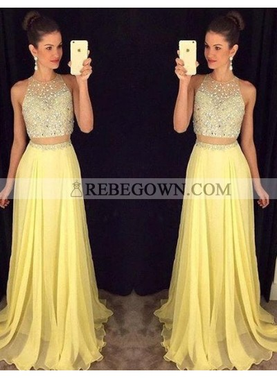 Prom Dresses Long Floor length A-Line Sleeveless Zipper Chiffon