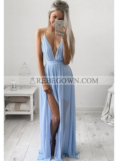rebe gown 2021 Blue Prom Dresses Long Floor length A-Line Spaghetti Straps Chiffon