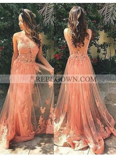 Prom Dresses Long Floor length A-Line Straps Appliques Tulle