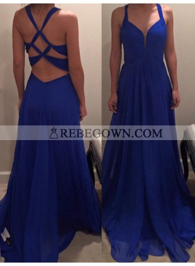 Royal Blue Prom Dresses A-Line Criss Cross Backless Chiffon
