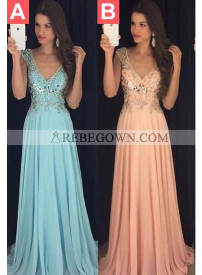 rebe gown 2021 Blue Prom Dresses Long Floor length A-Line V-Neck Sequins Chiffon