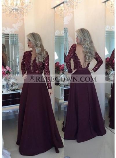 Burgundy Prom Dresses Long Floor length A-Line V-Neck Lace Spliced  Satin