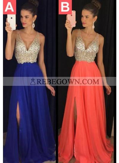 Prom Dresses Royal Blue Long Floor length A-Line Straps Sequins Chiffon