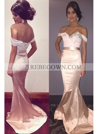 Long Floor length Off-the-Shoulder Mermaid Taffeta Pearl Pink Prom Dresses