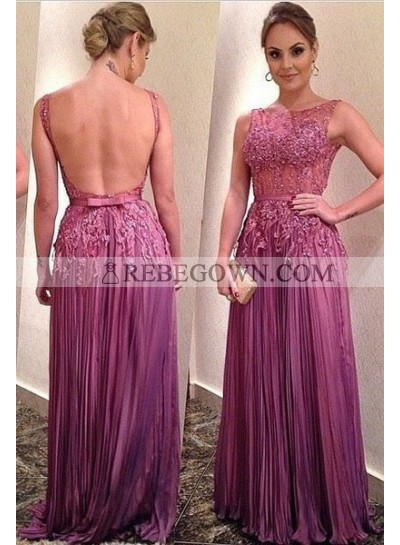 Appliques Pleated Backless Chiffon Prom Dresses