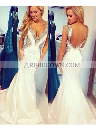 2021 Unique White Beading Staps Mermaid Taffeta Prom Dresses