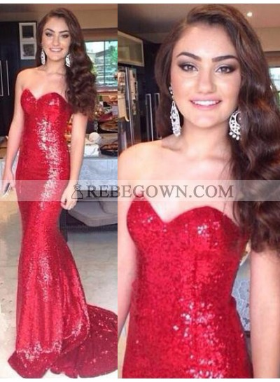 2021 Gorgeous Red Long Floor length Sweetheart Mermaid Sequined Prom Dresses