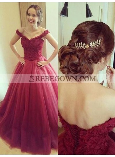 2020 Gorgeous Red Off-the-Shoulder Ball Gown Tulle Prom Dresses