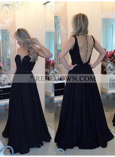 2021 Junoesque Black Beading A-Line Satin Prom Dresses