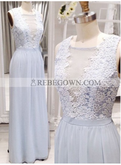 Long Floor length A-Line V-Neck Embroidery Chiffon Prom Dresses