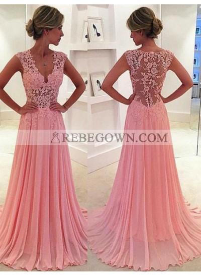 Long Floor length A-Line V-Neck Flowers Chiffon Prom Dresses