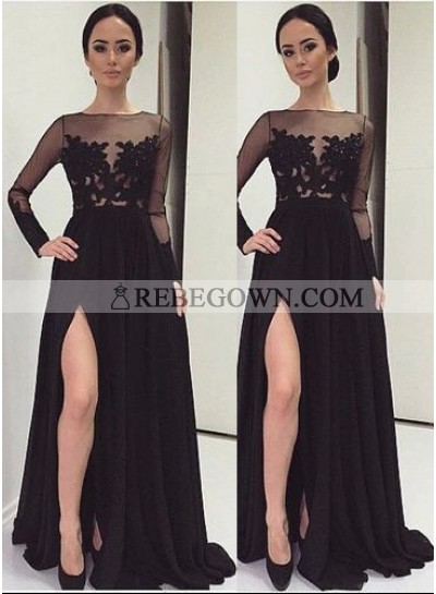 2021 Junoesque Black Long Floor length A-Line Sweep/Brush Train Lace Prom Dresses