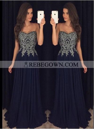 Long Floor length A-Line Sweetheart Zipper Chiffon Prom Dresses