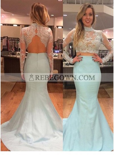 rebe gown 2020 Blue Cheap Prom Dresses Long Floor length Mermaid High Neck Taffeta