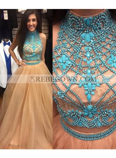 Long Floor length A-Line High Neck Beading Tulle Prom Dresses