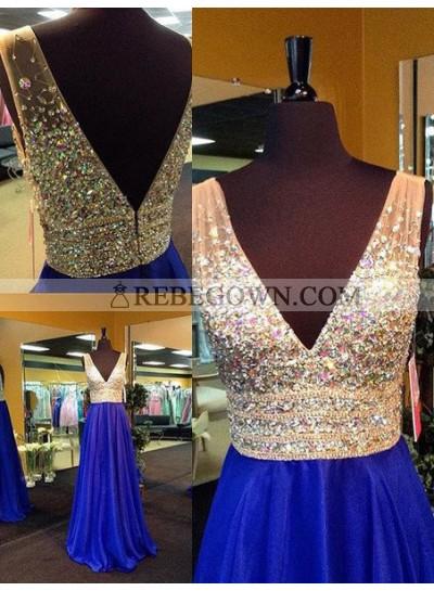 Royal Blue Long Floor length A-Line V-Neck Crystal Detailing Chiffon Prom Dresses