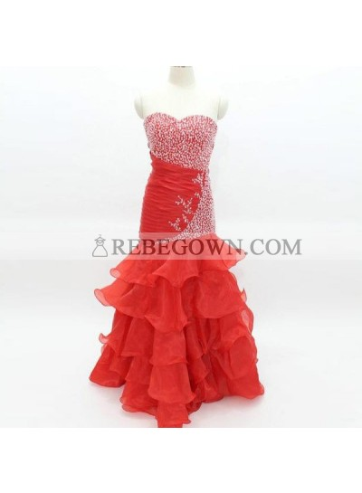 2021 Gorgeous Red Long Floor length Mermaid Sweetheart Chiffon Prom Dresses