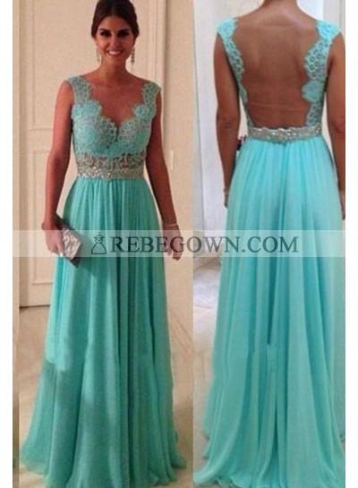 Lace Scalloped A-Line Chiffon Prom Dresses