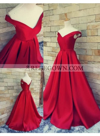 2021 Gorgeous Red Off-the-Shoulder A-Line Satin Prom Dresses