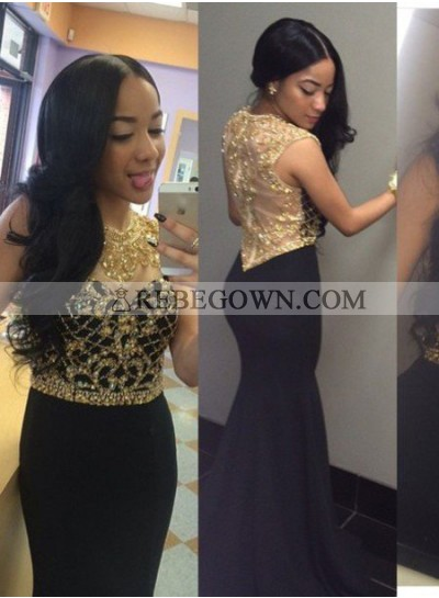 2020 Junoesque Black Beading Mermaid Satin Prom Dresses
