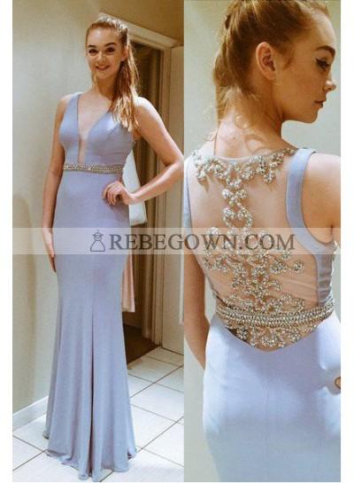 V-Neck Long Floor length Stretch Satin Prom Dresses