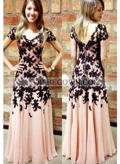 Appliques Short Sleeves A-Line Chiffon Pearl Pink With 2021 Junoesque Black Prom Dresses