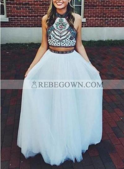 2020 Unique White Beading Halter A-Line Chiffon Two Pieces Prom Dresses