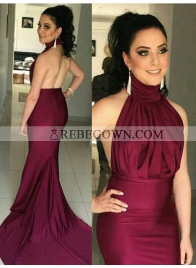 Mermaid High Neck Sleeveless Natural Backless Court Train Burgundy Prom Dresses