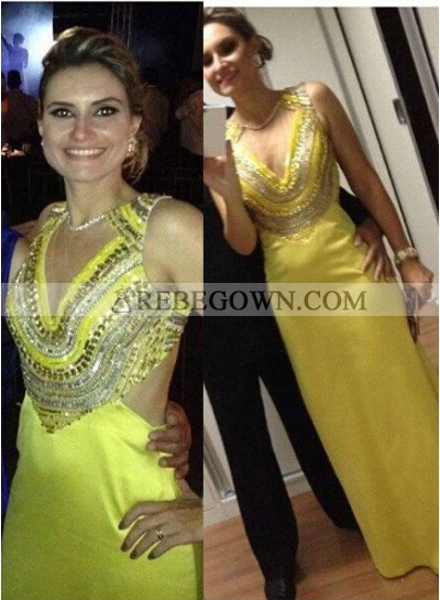 Column/Sheath Sleeveless Natural Zipper Long Floor length Chiffon Prom Dresses