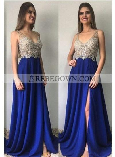 Royal Blue Column/Sheath V-Neck Sleeveless Natural Zipper Long Floor length Chiffon Prom Dresses
