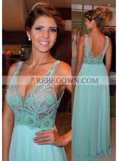 V-Neck Beading Sleeveless Zipper Chiffon rebe gown 2021 Blue Prom Dresses