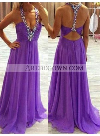 Ruching Beading Straps Long Floor length Chiffon Prom Dresses