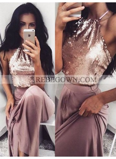 Halter A-Line Sequined Prom Dresses