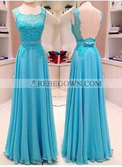 rebe gown 2020 Blue Column/Sheath Straps Sleeveless Natural Backless Long Floor length Chiffon Prom Dresses