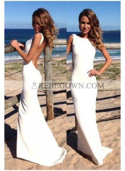 2020 Unique White Backless Sweep Train Column/Sheath Satin Prom Dresses