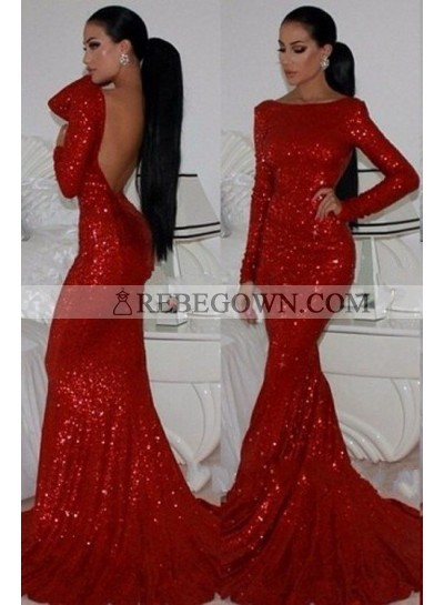 2020 Gorgeous Red Long Sleeve Backless Mermaid Sequined Prom Dresses