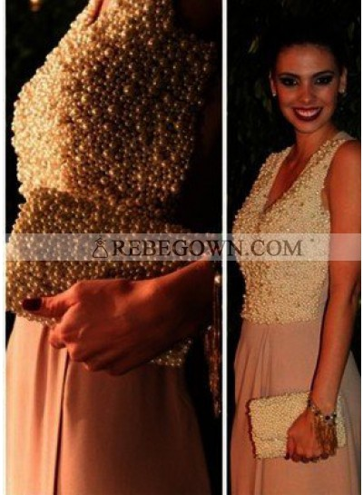 A-Line V-Neck Sleeveless Natural Beading Sweep/Brush Train Prom Dresses
