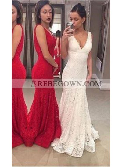 Mermaid V-Neck Sleeveless Natural Sweep/Brush Train Lace 2020 Gorgeous Red/ White Prom Dresses
