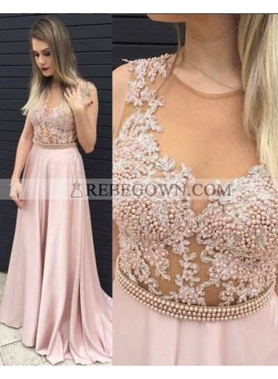 A-Line Round Neck Sleeveless Natural Sweep/Brush Train Prom Dresses