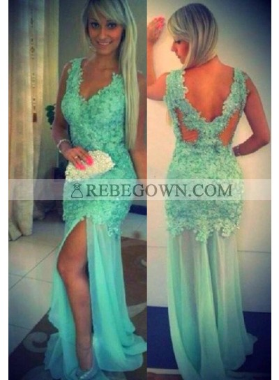 rebe gown 2021 Blue Mermaid V-Neck Sleeveless Natural Appliques Tulle Prom Dresses