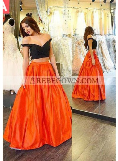 Sexy A-Line Off-the-Shoulder Two Pieces Prom Dresses