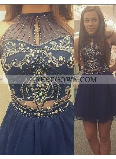 rebe gown 2020 Blue Beading High Neck Zipper Short Prom Dresses