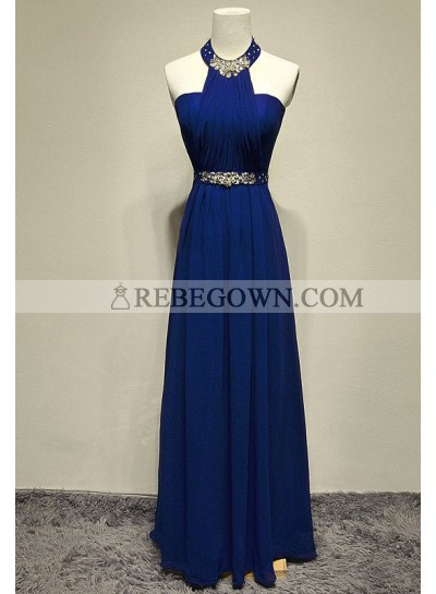 rebe gown 2021 Blue Beading Halter A-Line Chiffon Prom Dresses