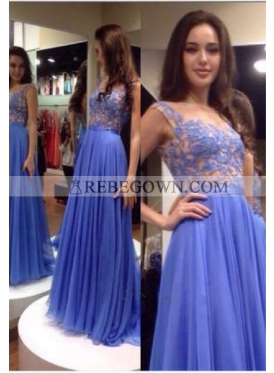 Lavender Lace Pleated A-Line Chiffon Prom Dresses