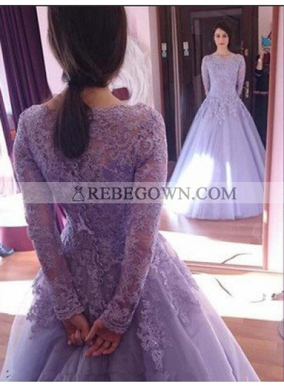 Lace Long Sleeve A-Line Tulle Prom Dresses