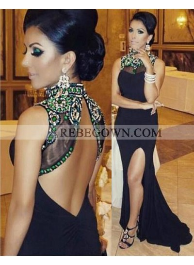 2021 Junoesque Black Mermaid High Neck Natural Backless Long Floor length Chiffon Prom Dresses