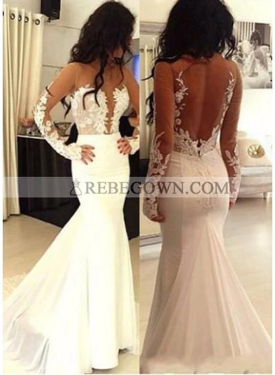 2021 Unique White Mermaid Long Sleeve Natural Zipper Appliques Prom Dresses