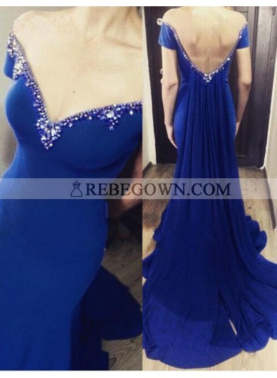 rebe gown 2021 Blue Mermaid Off-the-Shoulder Sleeveless Natural Backless Chiffon Prom Dresses