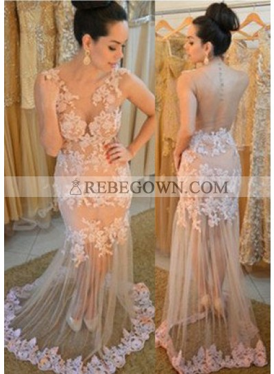 Mermaid V-Neck Long Sleeve Natural Zipper Tulle Pearl Prom Dresses